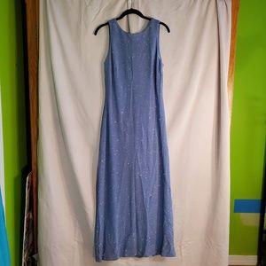 blue sparkling prom evening gala dress